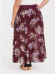 Red Wine Floral Chiffon Skirt, HAPPY FLORAL, alternate