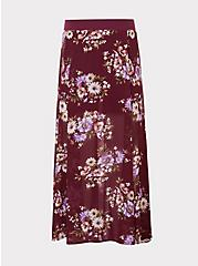 Red Wine Floral Chiffon Skirt, HAPPY FLORAL, hi-res