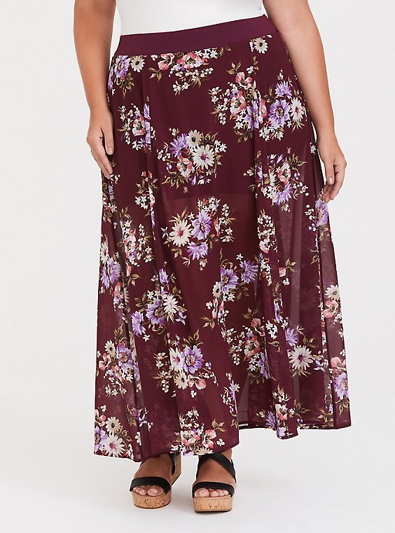 Red Wine Floral Chiffon Skirt, , hi-res