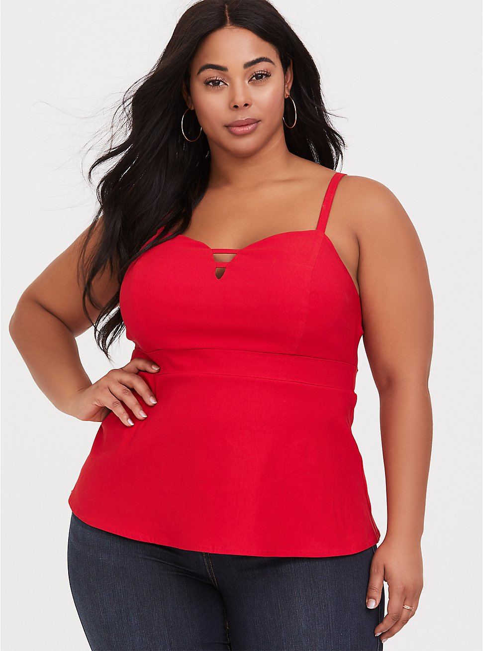 Plus Size Ruby Red Bengaline Strappy Peplum Cami, RUBY TUESDAY, hi-res
