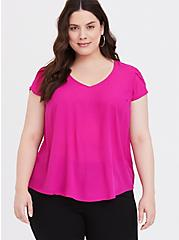Hot Pink Georgette Tulip Sleeve Blouse, STRAWBERRY DAQUIRI, hi-res