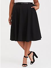 Black Midi Skater Skirt with Belt, DEEP BLACK, alternate