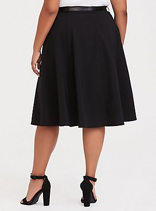 Black Midi Skater Skirt with Belt, DEEP BLACK, alternate
