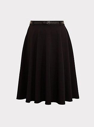Black Midi Skater Skirt with Belt, DEEP BLACK, flat