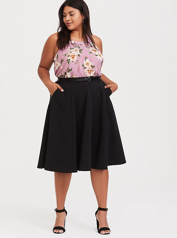 Black Midi Skater Skirt with Belt, DEEP BLACK, hi-res
