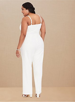 Plus Size Special Occasion Ivory Wide Leg Jumpsuit, CLOUD DANCER, alternate