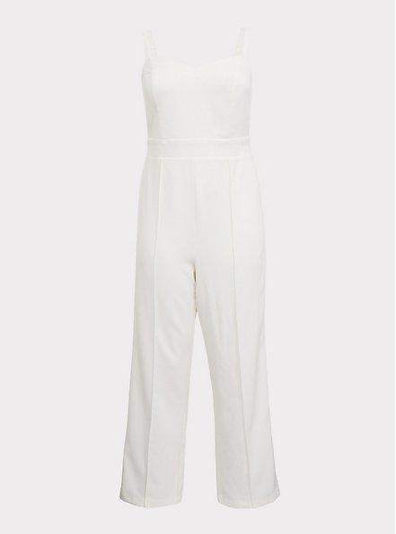 Plus Size Special Occasion Ivory Wide Leg Jumpsuit, CLOUD DANCER, hi-res