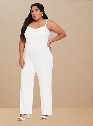 Plus Size Special Occasion Ivory Wide Leg Jumpsuit, CLOUD DANCER, hi-res