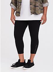 Crop Premium Legging - Lace-Up Black, BLACK, hi-res