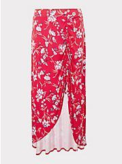 Plus Size Red Floral Jersey Maxi Skirt, VIVAN FLORAL, hi-res