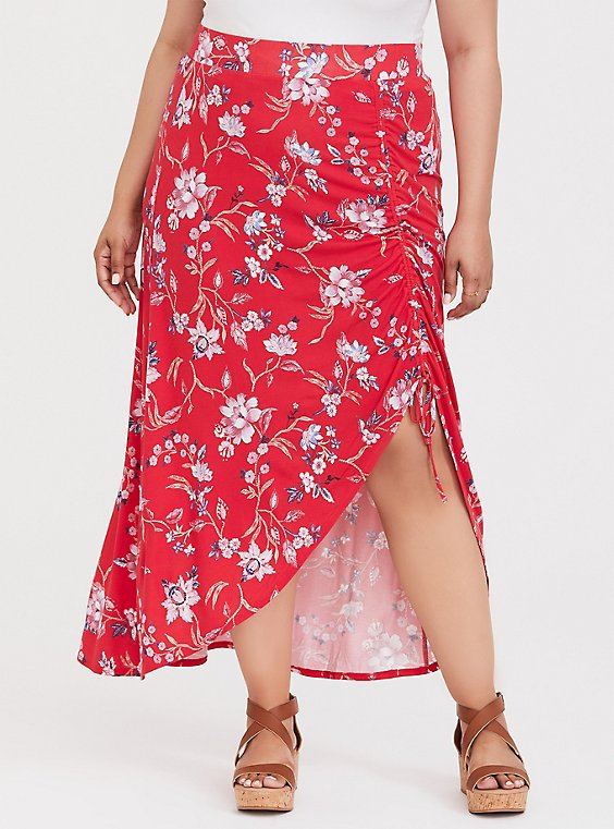 Plus Size Red Floral Jersey Maxi Skirt, , hi-res