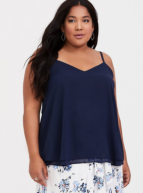 Sophie - Navy Chiffon Double Layer Swing Cami, YACHT, hi-res