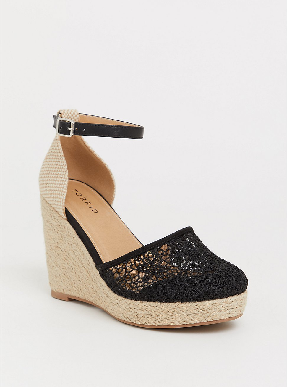 Black Crochet Midi Wedge (WW), BLACK, hi-res