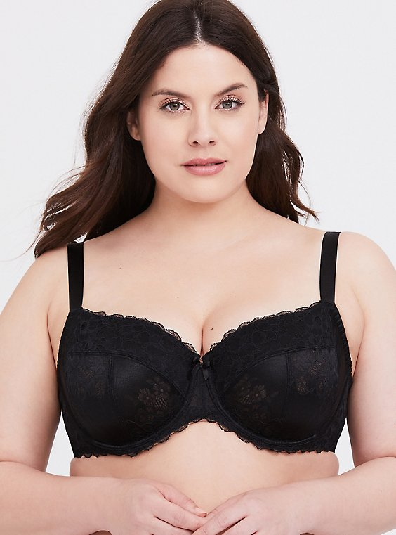 Plus Size Black Lace Unlined Full Coverage Bra, RICH BLACK, hi-res