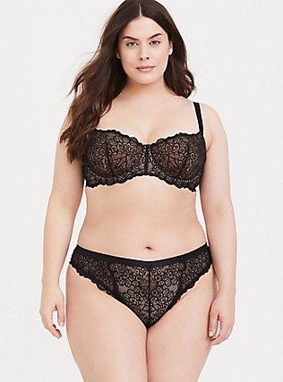 Plus Size Black & Nude Lace Unlined Balconette Bra, RICH BLACK, alternate