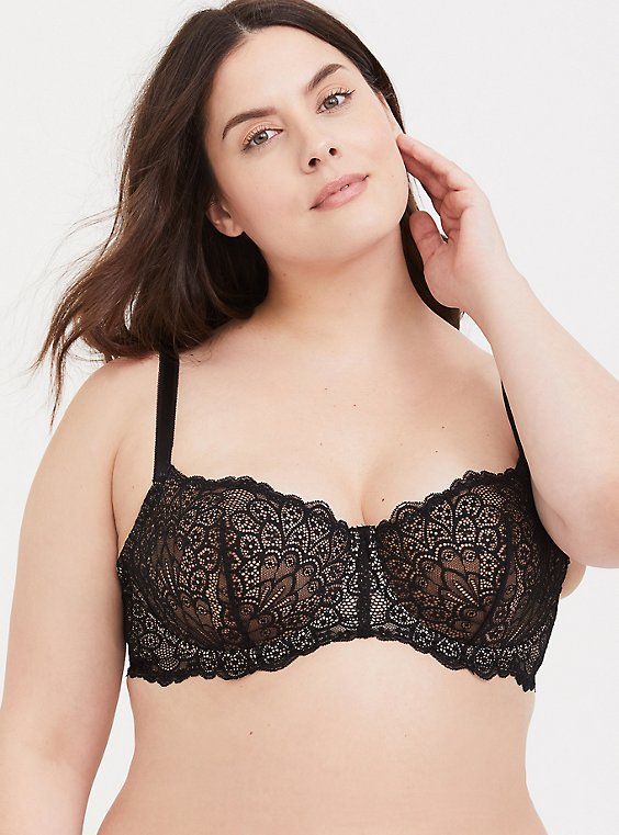 Plus Size Black Lace Unlined Balconette Bra, , hi-res