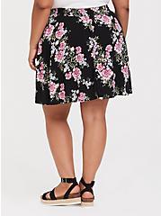 Black Floral Challis Skort, BLACK FLORAL, alternate