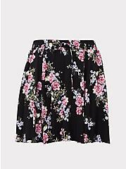 Black Floral Challis Skort, BLACK FLORAL, hi-res