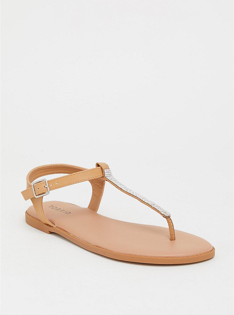 Tan Rhinestone T-Strap Sandal (WW), TAN/BEIGE, hi-res