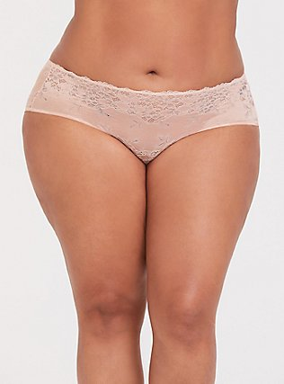 Plus Size Peachy Pink Floral Caged Lace Hipster Panty, , hi-res