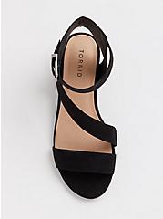 Black Faux Suede Asymmetrical Block Heel (WW), BLACK, alternate