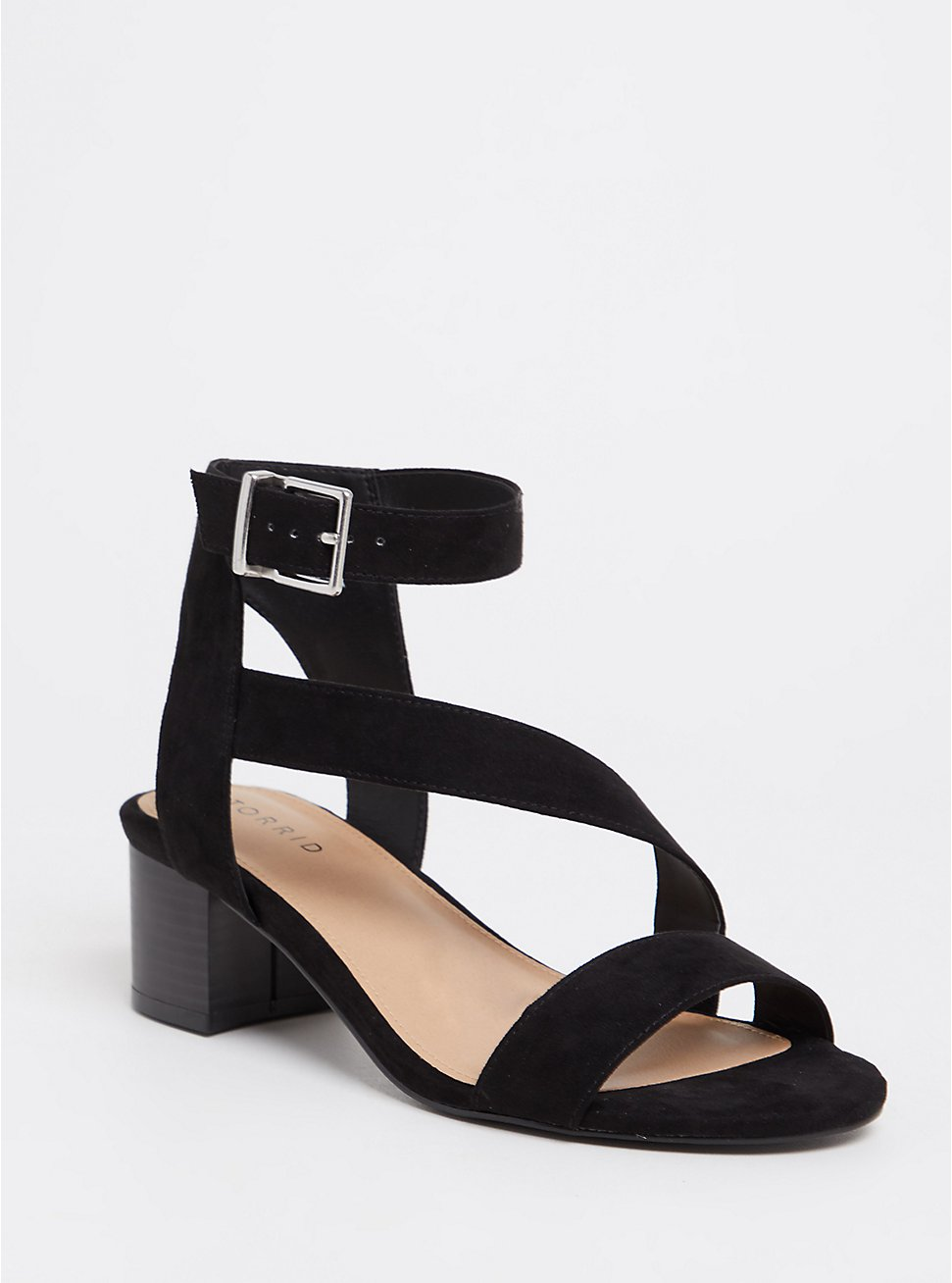Black Faux Suede Asymmetrical Block Heel (WW), BLACK, hi-res