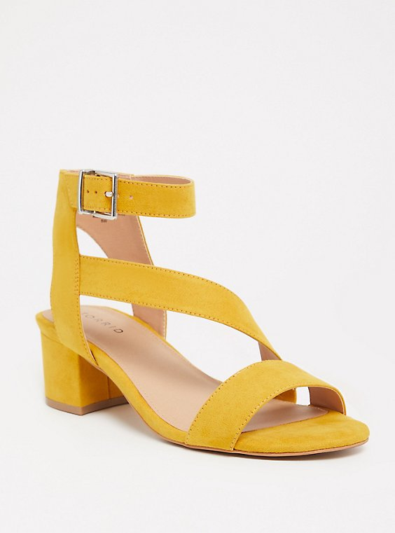 Yellow Faux Suede Block Heel (WW), , hi-res