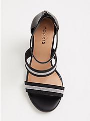 Black and Metallic Three Strap Taper Heel (WW), MULTI STRIPE, alternate