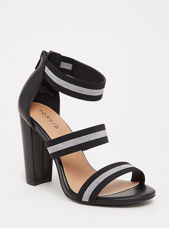 Black and Metallic Three Strap Taper Heel (WW), , hi-res