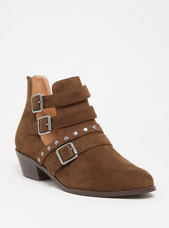 Olive Brown Studded Cutout Bootie (WW), , hi-res