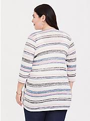 Plus Size Multi Stripe Slub Cardigan, STRIPE-WHITE, alternate