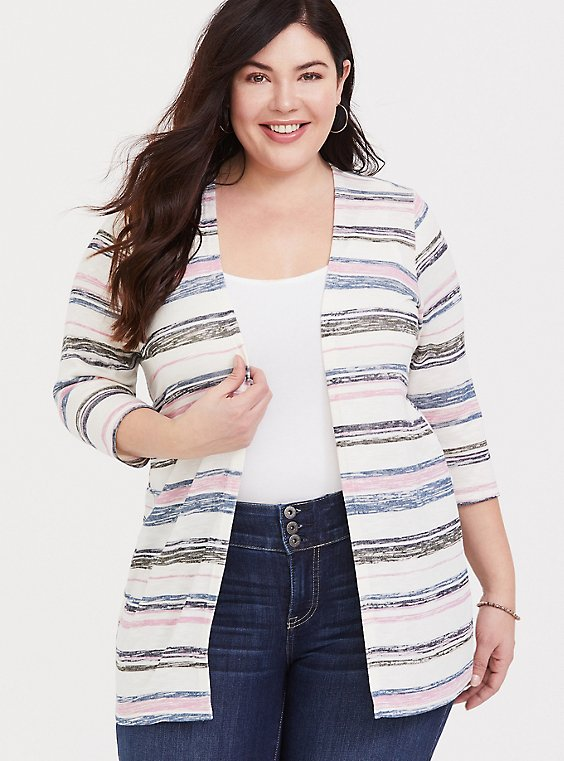 Multi Stripe Slub Cardigan, , hi-res