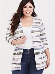Plus Size Multi Stripe Slub Cardigan, STRIPE-WHITE, hi-res