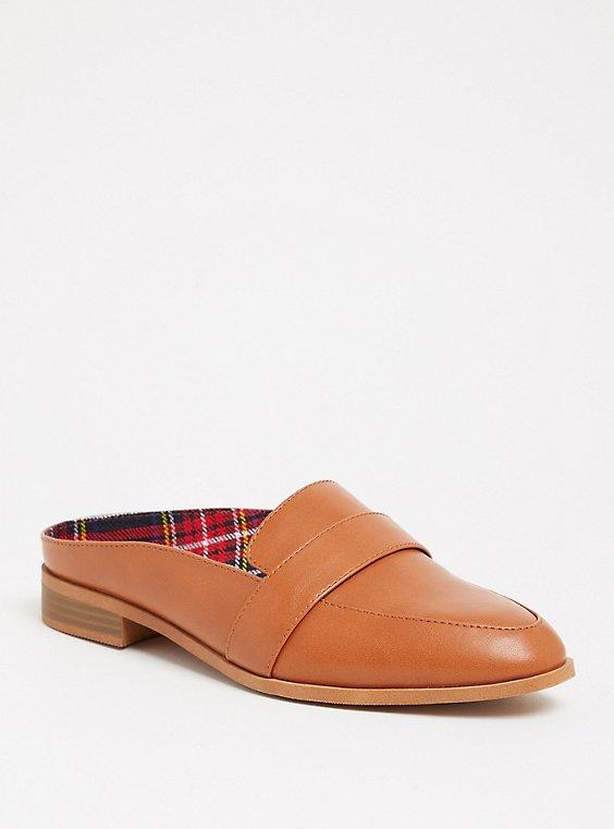 Plus Size Cognac Faux Leather Loafer Mule (WW), , hi-res