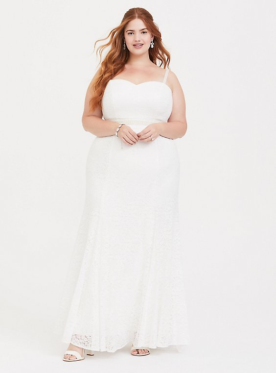 Plus Size Special Occasion Ivory Lace Mermaid Formal Gown, , hi-res
