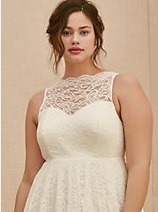 Ivory Lace Tea-Length Wedding Dress , CLOUD DANCER, alternate