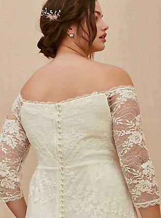 Ivory Off Shoulder Lace & Sequin Wedding Dress, CLOUD DANCER, alternate