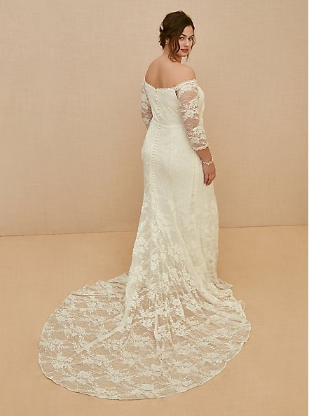 Ivory Off Shoulder Lace & Sequin Wedding Dress, CLOUD DANCER, alternate