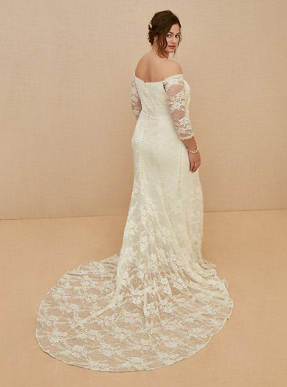 Plus Size Ivory Off Shoulder Lace Sequin Wedding Dress Torrid