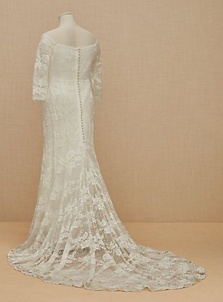 Ivory Off Shoulder Lace & Sequin Wedding Dress, CLOUD DANCER, flat