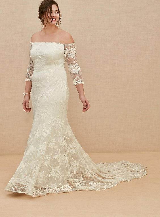 Plus Size Ivory Off Shoulder Lace & Sequin Wedding Dress, , hi-res