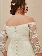 Ivory Off Shoulder Lace & Sequin Wedding Dress, , fitModel1-alternate