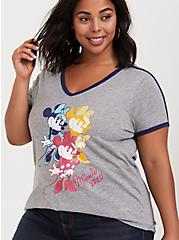 Plus Size Disney Minnie Mouse Grey Ringer Top, GREY, alternate