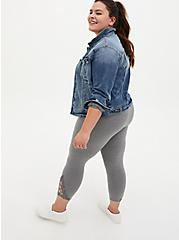 Plus Size Crop Premium Legging - Open Crochet Side Heather Grey, GREY, alternate