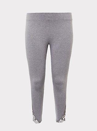 Grey Crochet Crop Legging, GREY, flat