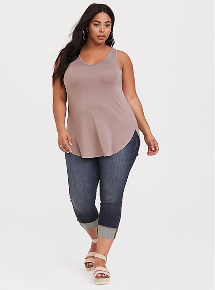 Super Soft Dark Taupe Favorite Tunic Tank, TOFFEE BROWN, alternate