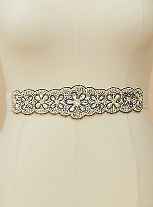 Rhinestone Beaded Belt, WHITE, alternate