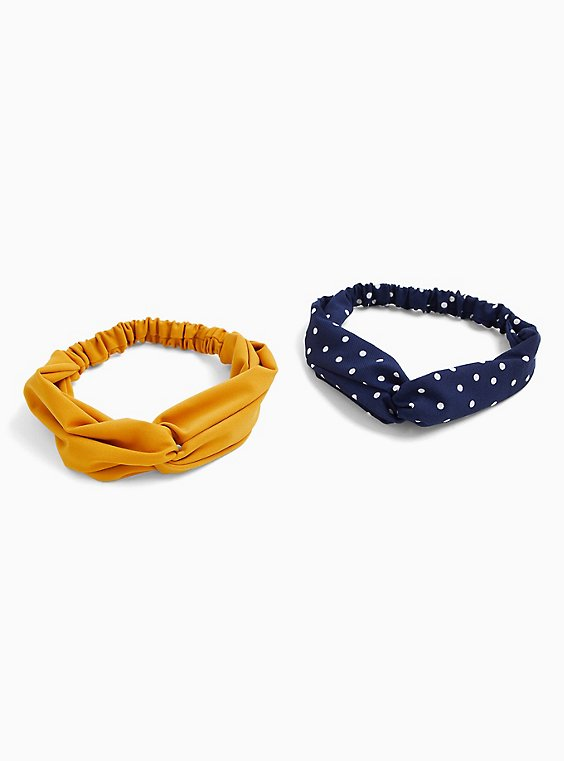 Navy Polka Dot Twist Front Headband Pack - Pack of 2, , hi-res