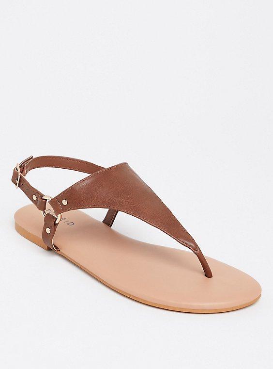 Cognac T-Strap Sandal (WW), , hi-res