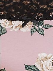 Mauve Pink Floral Wide Lace Cotton Cheeky Panty, FLORALS-PURPLE, alternate
